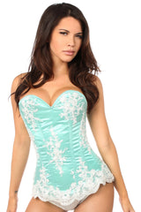Elegant Mint Embroidered Steel Boned Corset
