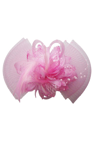 Pink Floral Net Yarn Hair Accessory