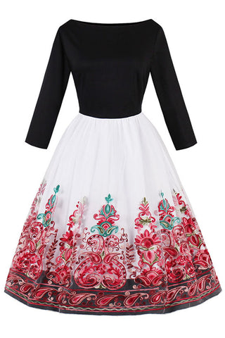 Black and Red Floral Organza Swing Dress