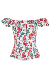 Summer Off Shoulder Floral Overbust Corset
