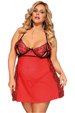 Red Lace Slit Babydoll Lingerie
