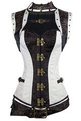 Two Toned Steel Boned Steampunk Overbust Corset