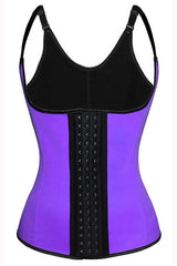Purple Latex Steel Boned Vest Underbust Corset