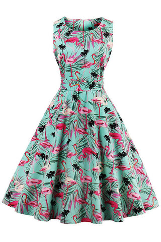 1950's Flamingo Print Swing Dress