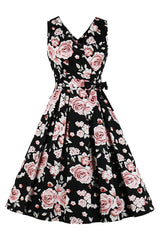 Black Retro Rose Vest Dress