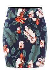 Blue Tropical Hibiscus Bodycon Skirt