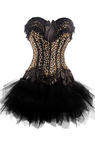 Two Piece Leopard Lover Corset with Tutu