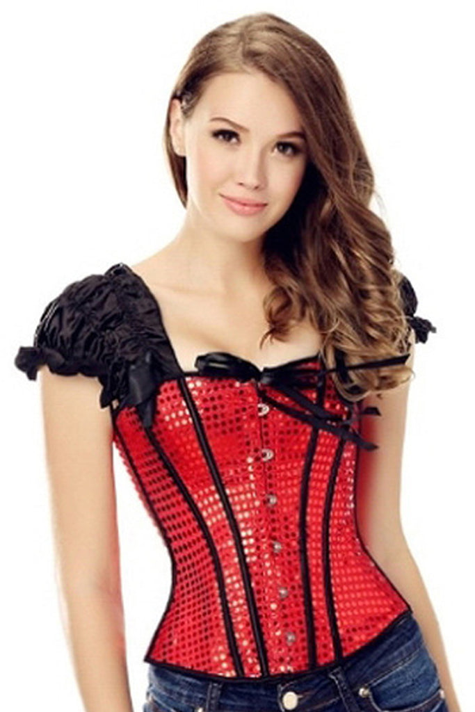 67c2e5714af Atomic Red Sequin Corset with Tie Straps