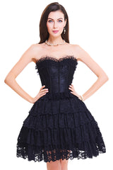 Black Floral Victorian Lace Corset Dress