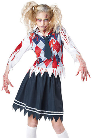 Preppy Zombie School Girl Costume