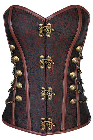 Brown Steam Steel Boned Overbust Corset