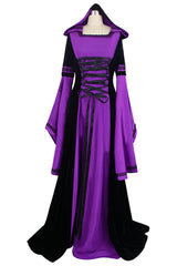 Purple and Black Hooded Robe Costume
