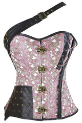 Pink One Shoulder Crisscross Corset