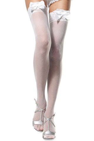 Atomic Sheer White Lace Thigh High Stockings