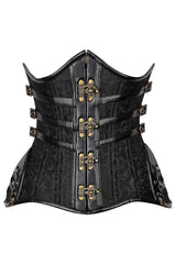 Black Steel Double Boned Underbust Corset