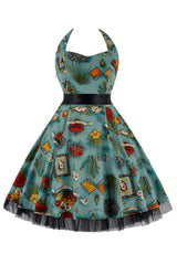 Blue Green Wild West Swing Dress