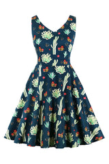 Cactus Sleeveless Vest Swing Dress