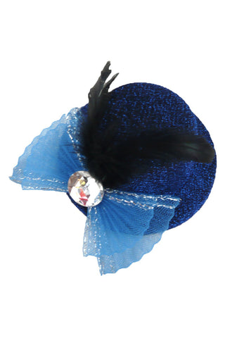 Blue Jeweled Bow Mini Top Hat