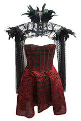 Floral Gothic Corset Dress with Feathered Shrug