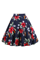 Dark Blue Garden Bloom Midi Skirt