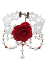 White Lace And Red Rose Choker Necklace