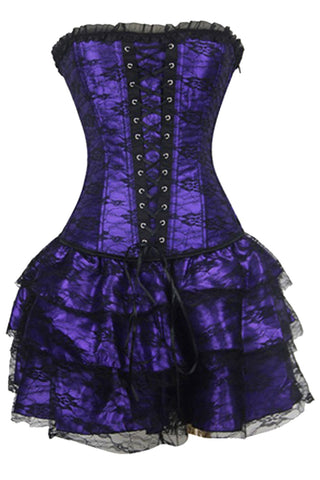 Royal Purple Lace Corset Dress