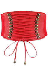 Red Leather Lace Up Cinched Corset Belt