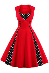 Red and Black Polka Dot Pleated Swing Dress