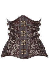 Brown Leafy Double Boned Underbust Corset