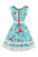 Blue and White Reindeer Swing Dress