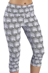 3D Gray Geometric Capri Leggings