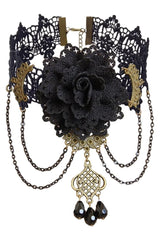 Black Lace And Rose Choker Necklace With Gems