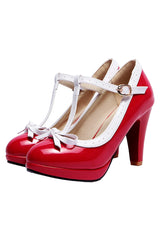 Atomic Red Mary Jane Bow Heels