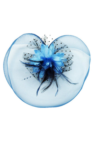 Blue Net Fascinator Hair Clip