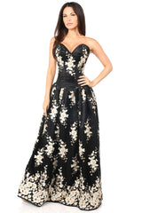 Black Floral Steel Boned Long Corset Dress