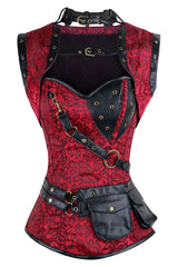 Red Steel Boned Steampunk Overbust Corset
