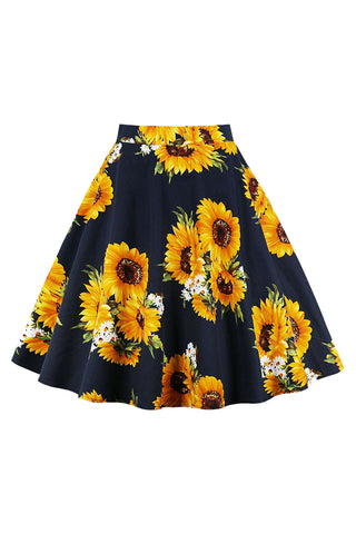 Atomic Daisy and Sunflower Midi Skirt