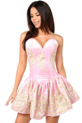 Top Drawer Premium Pink Floral Steel Boned Short Corset Dress