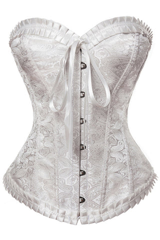 White Sweetheart Brocade Corset