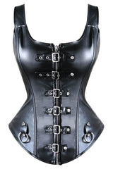 Steampunk Black Buckles Overbust Corset