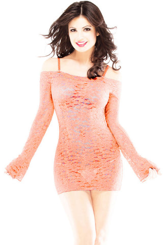 Light Orange Lace Bell Sleeved Chemise