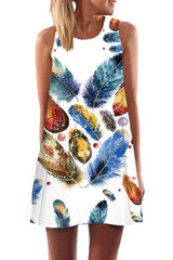 Dazzled Feather Mini Summer Dress