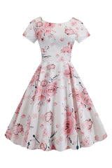 Atomic White and Pink Floral Swing Dress