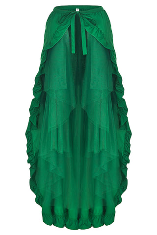 Atomic Gothic Open Front Ruffled Skirt - Medium / Green Only