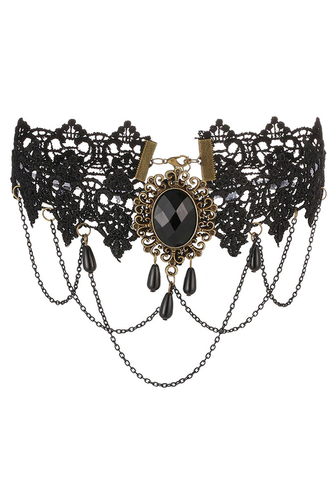 Atomic Black Lace And Gem Choker Necklace