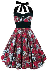 Rosed Skulls Halter Summer Dress