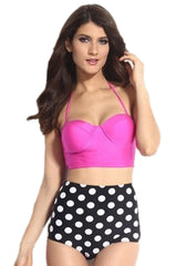 Hot Pink and Polka Dot High-Waisted Bikini Set