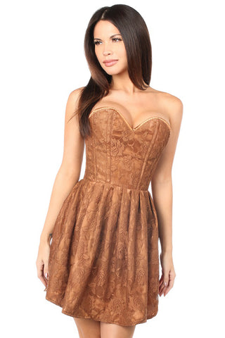 Top Drawer Premium Brown Floral Steel Boned Empire Waist Dress