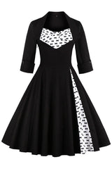 Black Bowknot Patchwork Dress