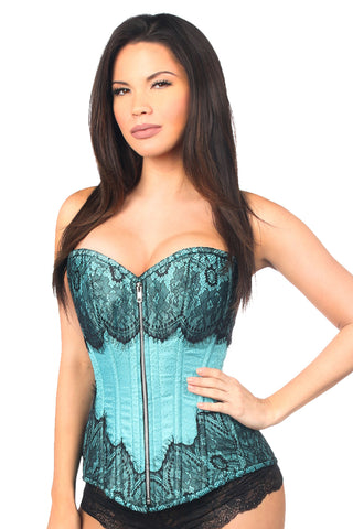 Teal Steel Boned Brocade Overbust